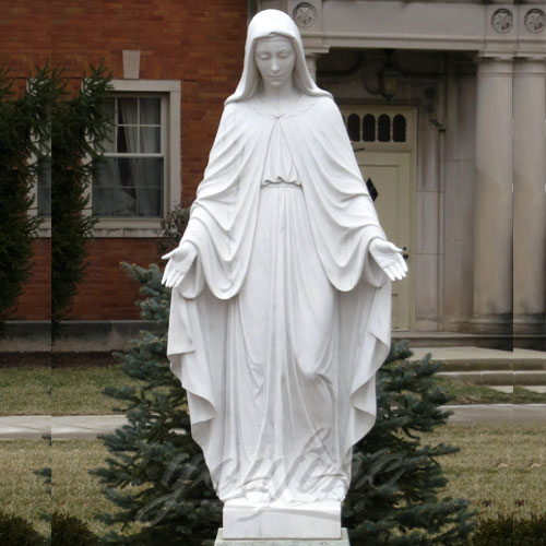 Popular Design Home Decoration White Marble Mary Statue on Stock for Sale CHS-088