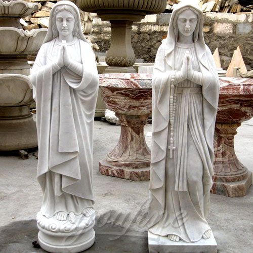 Blessed Marble Virgin Mary Statue in pairs for church decor