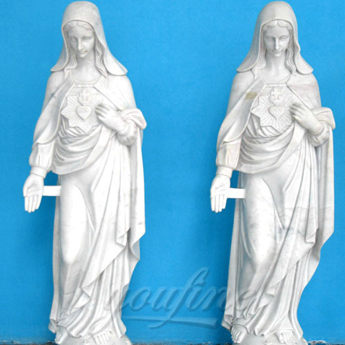White Natural Stone Religious Virgin Mary Church Statues in pairs for Sale