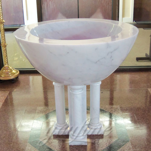 Bright White Marble Font in a Church on Stock for sale