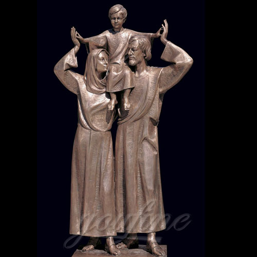 Bronze Christian Holy Family Statue Mother Virgin Mary and Baby Jesus for sale