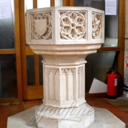 Custom Made Marble Fonts in a Church for Church Decor on Sale