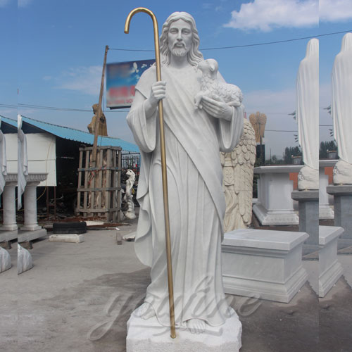 Factory Direct Supply Natural Marble Jesus Statue with walking stick for Sale