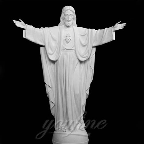 Decorative White Marble Jesus Statue with Open Hand  Interior Statue