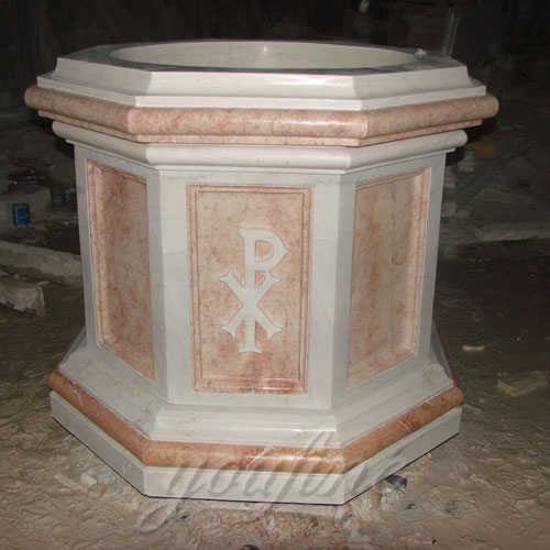 Hot Selling Natural Beige Marble Stone Font of Church for sale