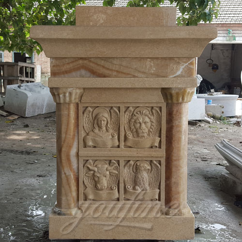 Indoor Large Sunset Marble pulpit Catholic for Church Decoration