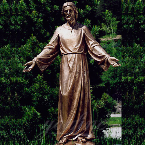 Large New Products Christian Bronze Jesus Statues Opening the Arm for sale