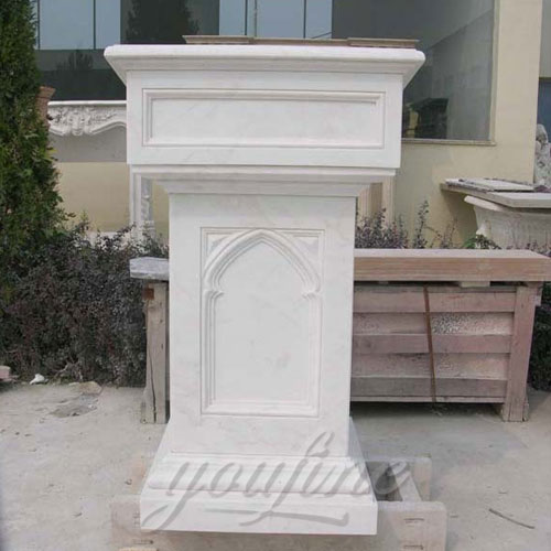 Modern Hand Carved White Marble Pulpit for Church Decor