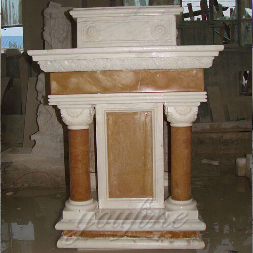 Modern Holy Hand Carved beige Marble Pulpit for Church Decor