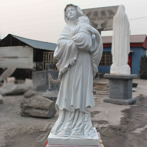Natural Stone White Marble Virgin Mary holding  Jesus Christ statues Carving Sculpture for Sale