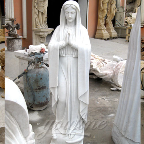 White Marble Virgin Mary Statue blessing Carving Sculpture for church decor
