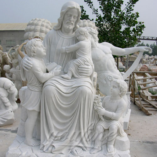Outdoor Large Marble Statue Jesus with Child Sculpture for Garden Decor