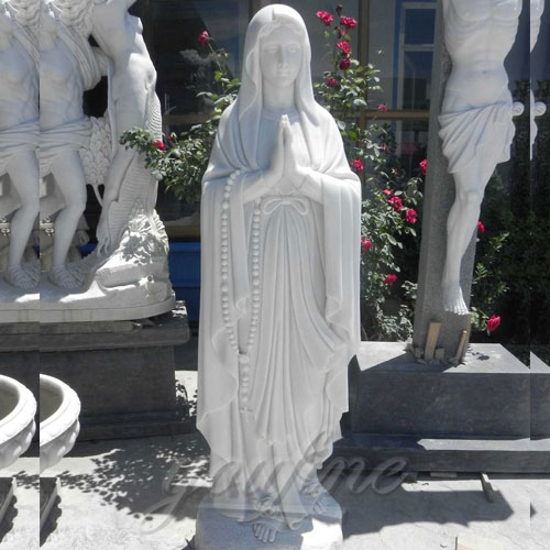 Outdoor White Blessed Marble Virgin Mary Statue standing for sale