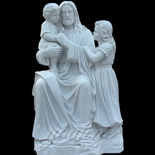 Popular Designs Marble Stone Jesus Statue and Child Statues for church decor