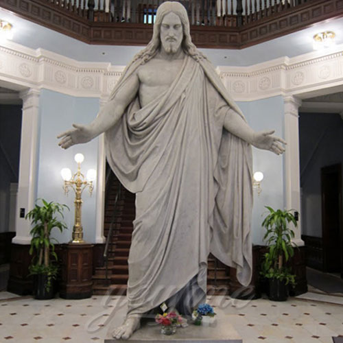 Home Interior Decorative Natural Marble Jesus with Open Hand