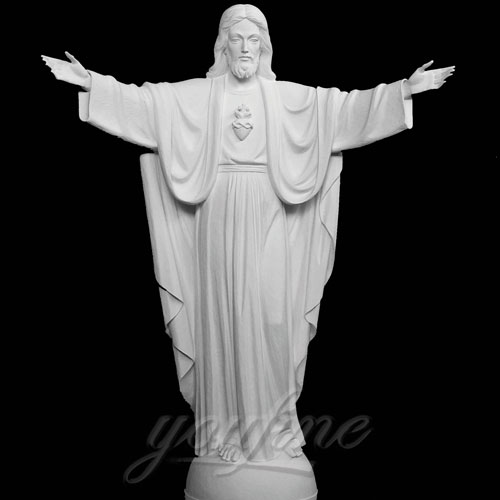 White Natural Marble Praying with Open Arm Jesus Statue on Sale
