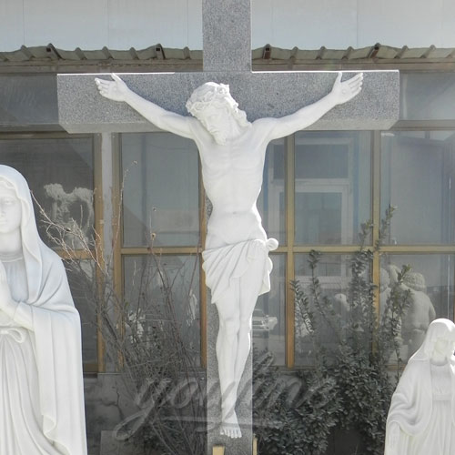 Religious Statues White Marble Jesus Statue with Cross for Church decor
