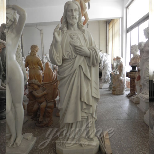 Factory supply Carved Marble Decorative Sacred Heart Jesus Statues for sale