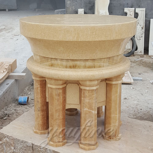 Small Indoor Religious Beige Marble Altar Table for Church Decor