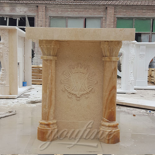 Top Quality Beige Marble Hand Carved Pulpit for Church Decor on Sale