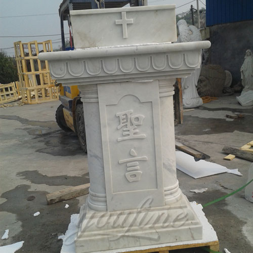 Pure White Hand Carved Marble Modern Church Pulpit for Indoor Decor
