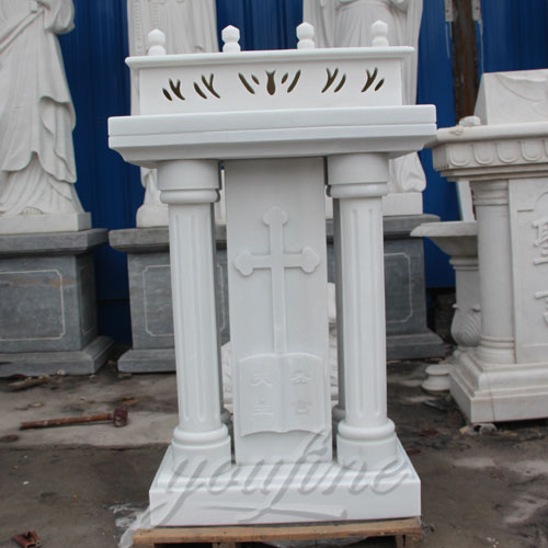Pure White Marble Church Lectern Pulpits for Indoor Decor