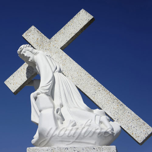 Church decor White Marble Jesus Statue with Cross on Back for Sale
