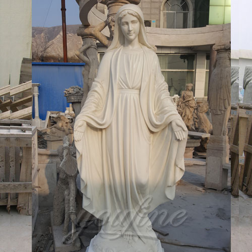 Hand Opened Outdoor White Marble Virgin Mary Statue Hot Sale
