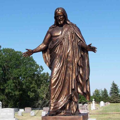 life Size Custom Garden Jesus Bronze Statue Jesus with Open Arms Statue for Sale