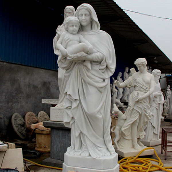 Outdoor White Marble Virgin Mary with Baby Jesus Statue for sale CHS-730