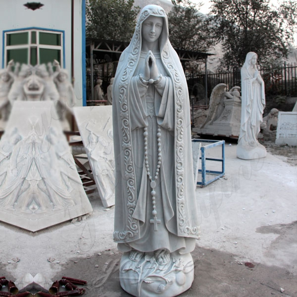 Hand carved Blessed Mother of Mary Marble Statue Outdoor Decoration for Sale CHS-363