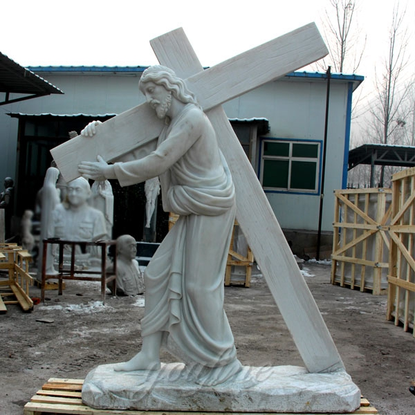 Famous Life Size Catholic Jesus Carrying the Cross White Marble Statue for Sale CHS-290