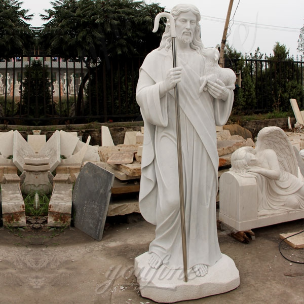 Natural Jesus Christ Shepherd Statue in White Marble for Sale CHS-292