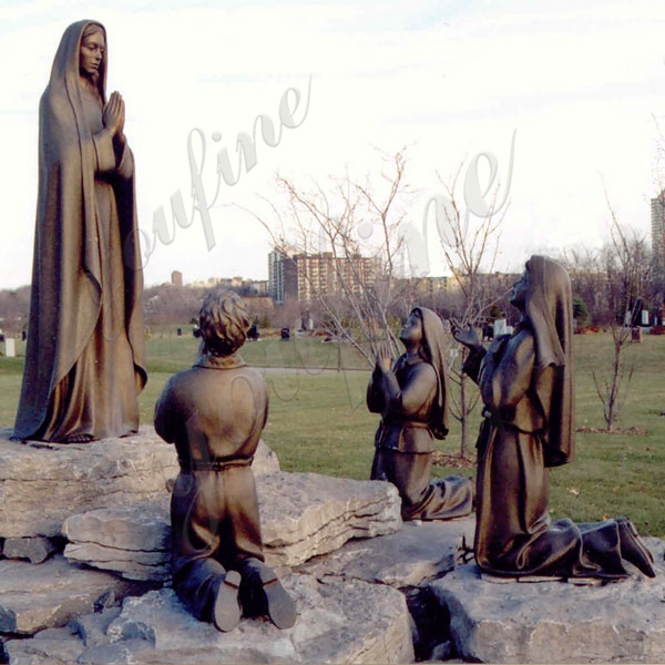 Catholic Bronze Religious Statue Our Lady of Fatima Mother and Three Shepherd Children BOKK-606