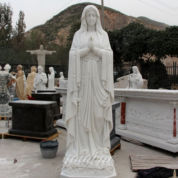 White Marble Blessed Mother Mary Statues