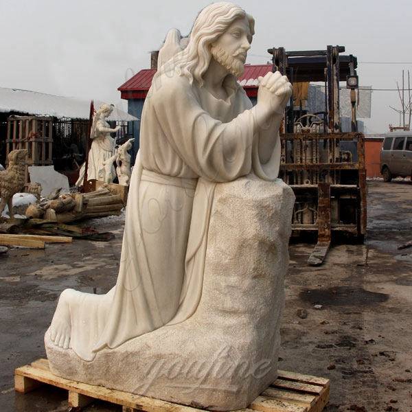 White Marble Jesus Kneeling Praying Statue Home Decor Figurine Christian for Sale CHS-295