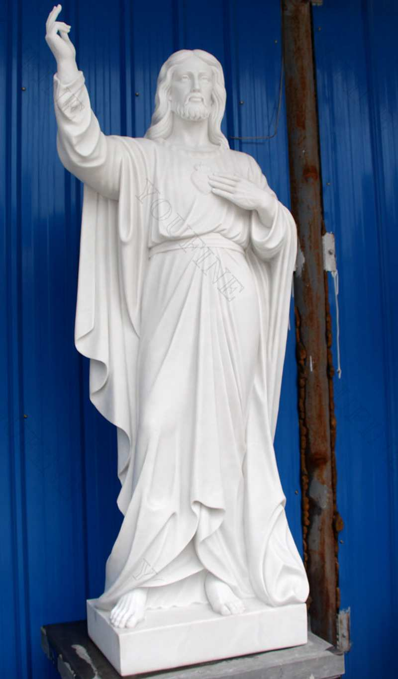Classic Marble Life Size Jesus Statue in Meditation for Church Decor