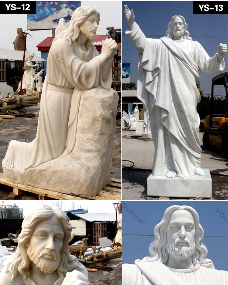 Marble Life Size Jesus Statue in Meditation for Church Decor