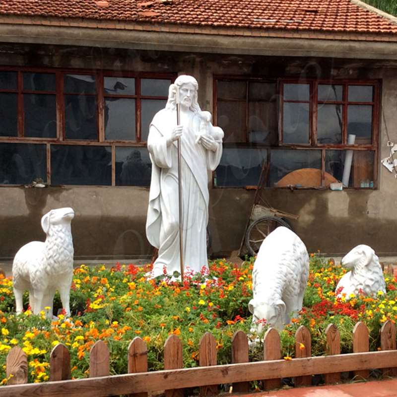Life Size Jesus Marble Statue with Three Sheep for Garden Deocr