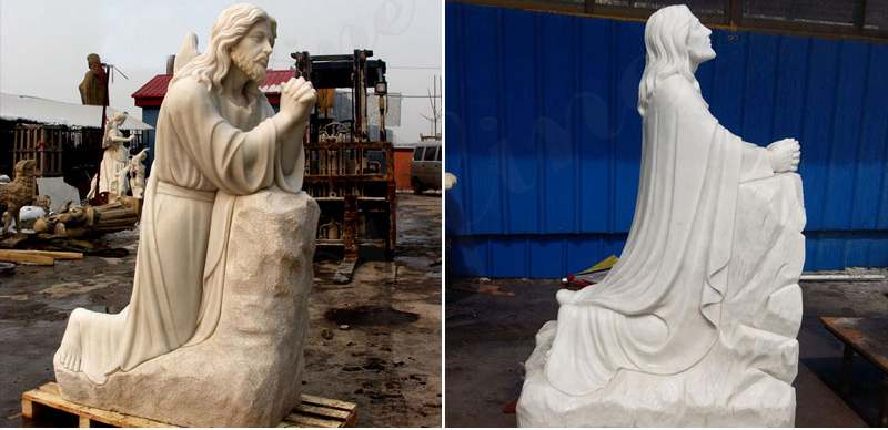 Catholic Marble Jesus Kneeling in Prayer Staute for Garden Decor