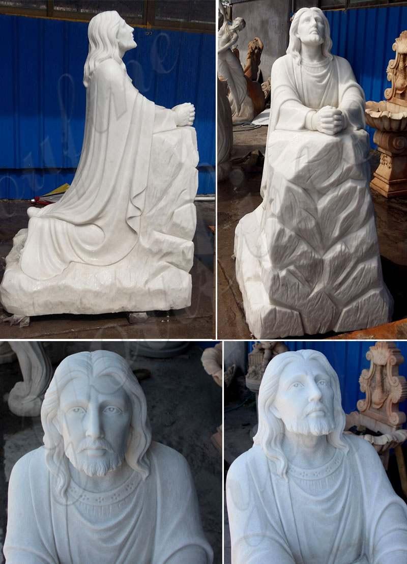 Christ Jesus praying and kneeling statue