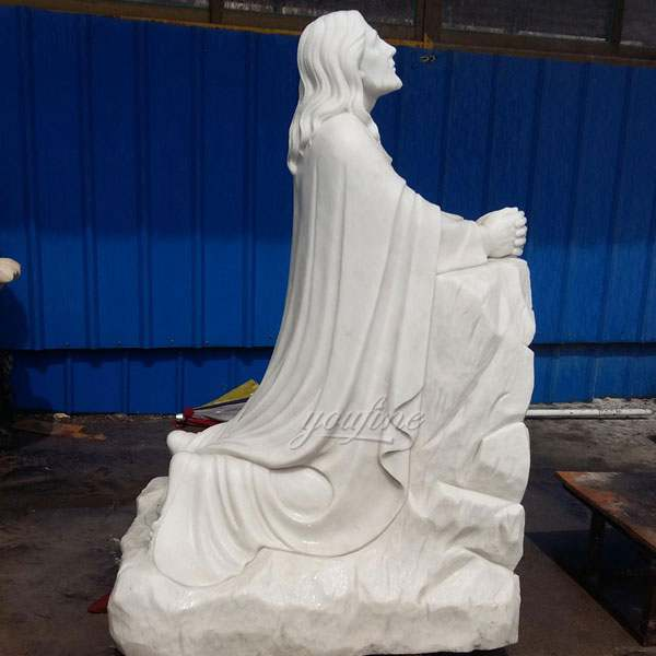 Catholic Marble Jesus Kneeling in Prayer Staute for Garden Decor CHS-604