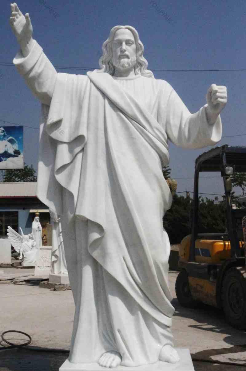 Catholic White Marble statues of Christ Jesus Making for Parish