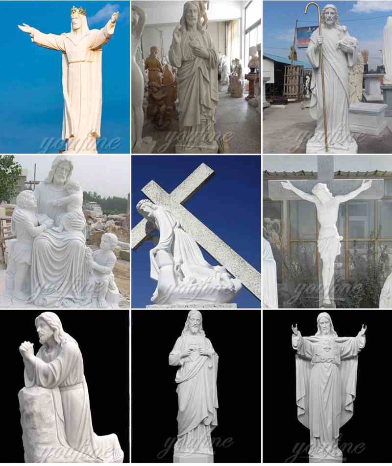 Catholic White Marble statues of Christ Jesus
