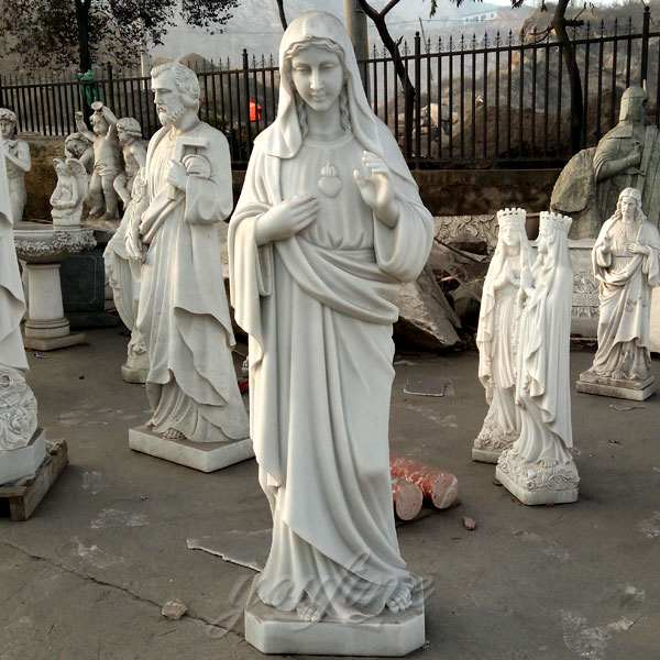 Life Size White Marble Outdoor Statue of Mary for Sale