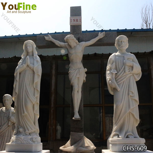 Hand Carved Life Size Jesus Crucifixion Marble Statue for Sale