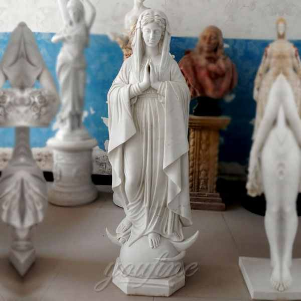 High Quality Catholic Blessed Mother Mary Marble Statue for Outside