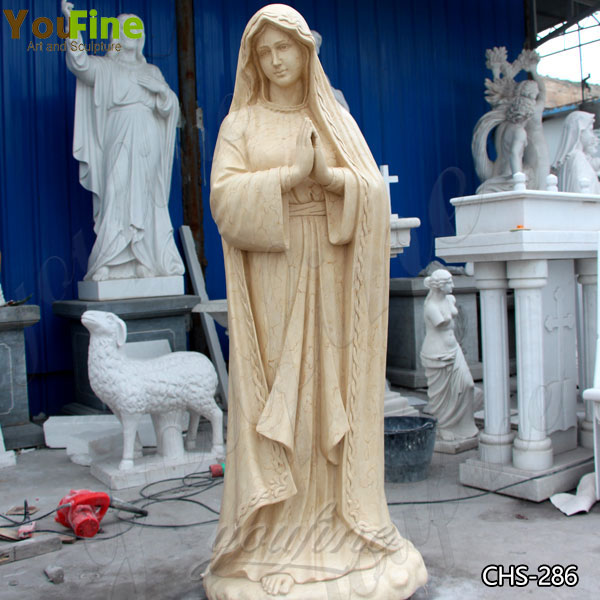 Life Size Religious Egyptian Beige Marble Lourdes Statue Supplier CHS-286