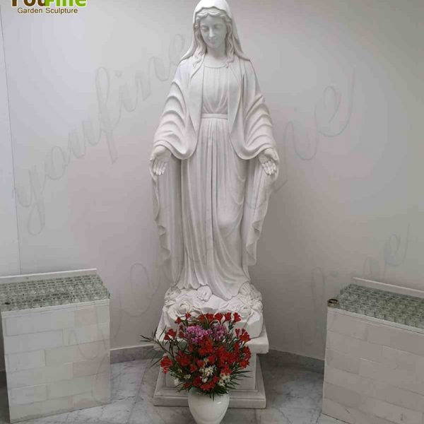 Life Size White Marble Mary Statue Feedback from Our Customer