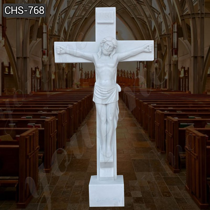Hand made Jesus on the cross marble statue factory supply CHS-768